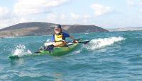 Eileen Murphy surfing off Eastern Crete